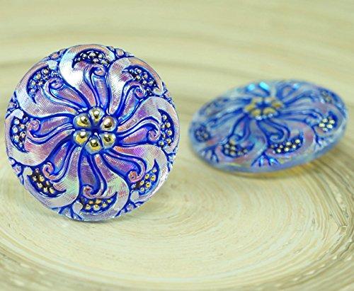 Handmade Glass Buttons - 1pc Blue Crystal AB Gold Flower Handmade Czech Glass Buttons Size 12, 27mm