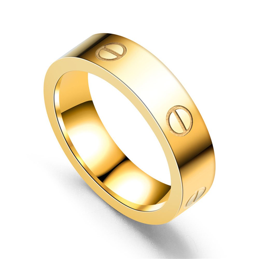 BESTJEW Gold Love Screw Ring Engagement Wedding Couples Band Titanium Stainless Steel Size 7