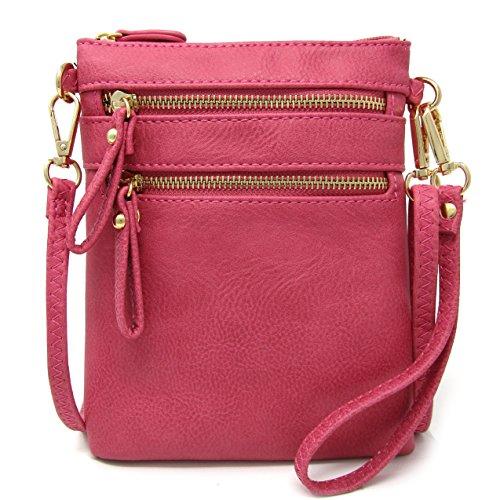 Organizer Multi Raspberry Pockets Leather Handbag Bag Zipper Women's Crossbody With Solene Detachable Wristlet Faux qnWpOFttYB