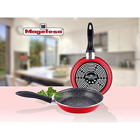 Magefesa K2 Rojo - Set Juego 3 Sartenes 18-20-24 cm, inducción, antiadherente PIEDRA libre de PFOA, limpieza lavavajillas apta para todas las cocinas, ...