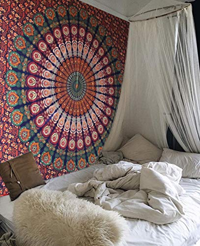 raajsee Tapestry Wall Hanging Mandala, Hippie Bohemian Bedding Home Decor Psychedelic Indian Ethnic Traditional Bedspread Table Cloth (Blue Orange Mandala, 140 X 210 cms)
