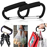 Pack of 2 Grocery Bag Holder Handle Carrier Tool Grip Your Tote,Handy Stroller Hooks, Multi Purpose Mommy Hooks, Pushchair Shopping Bag Hook Carabiner (Black)