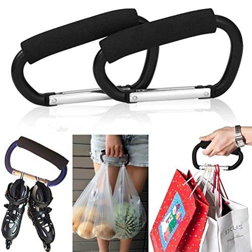 Carrier Bag Plastic (Pack of 2 Grocery Bag Holder Handle Carrier Tool Grip Your Tote,Handy Stroller Hooks, Multi Purpose Mommy Hooks, Pushchair Shopping Bag Hook Carabiner (Black))