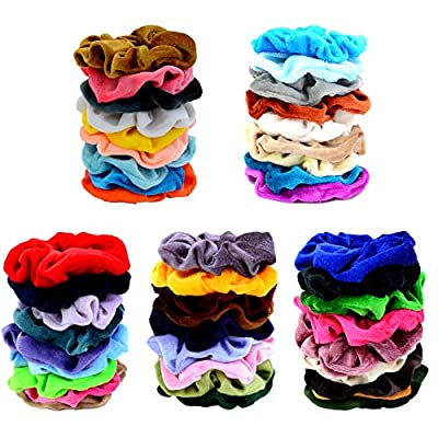 Chloven 45 Pcs Hair Scrunchies Velvet Elastics Bobbles Hair Bands Scrunchy Hair Ties Ropes Scrunchie for Women Girls Hair Accessories- 45 Assorted Colors Scrunchies