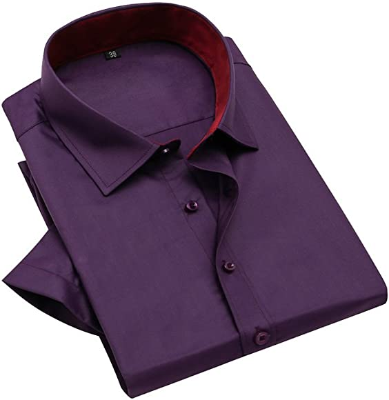 Bmeigo Hombre Non Iron Slim Fit Manga Corta Solid Point Collar Camisas de Vestir -H17: Amazon.es: Ropa y accesorios