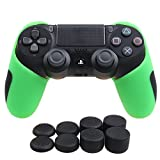 YoRHa Silicone Half extra Thick Cover Skin Case for Sony PS4/slim/Pro controller x 1(green) With Pro thumb grips x 8 by YoRHa