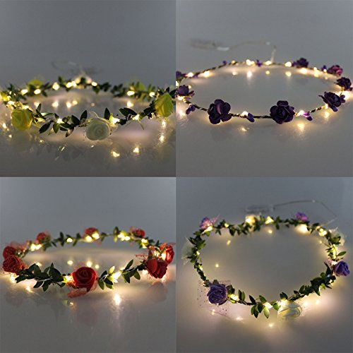 JOJOO Set of 4 LED Flower Garland Headband - Crown Festival Floral Flower Wedding Hair Wreath Headdress with LED Decor LT0364 by (Led Headband)