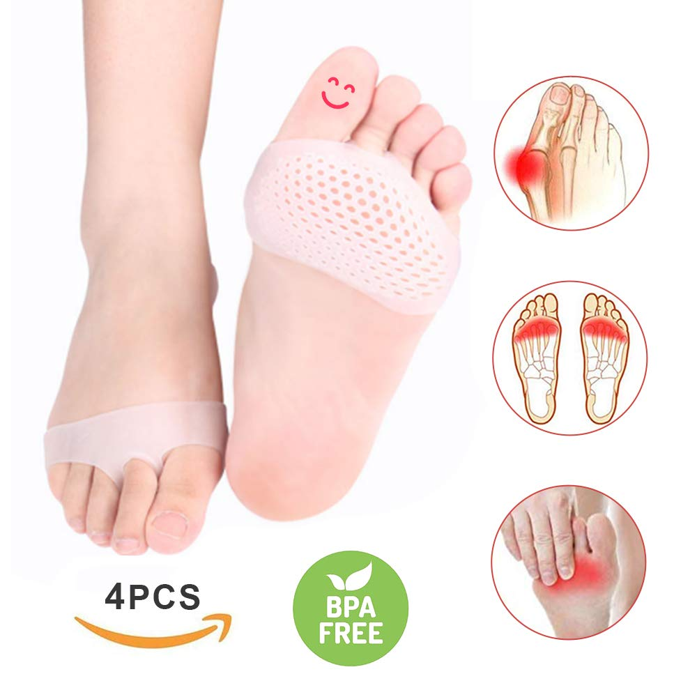 Metatarsal Pads for Women and Men, 4PCS Ball of Foot Cushions Foot Pads Heel Cushion Inserts for Metatarsalgia Neuroma Mortons Neuroma Pads by Emobe
