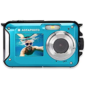 AgfaPhoto Appareil Photo numérique Realishot WP8000 WP8000 24 Mill. Pixel Bleu avec accu, Sacoche caméra Submersible, é