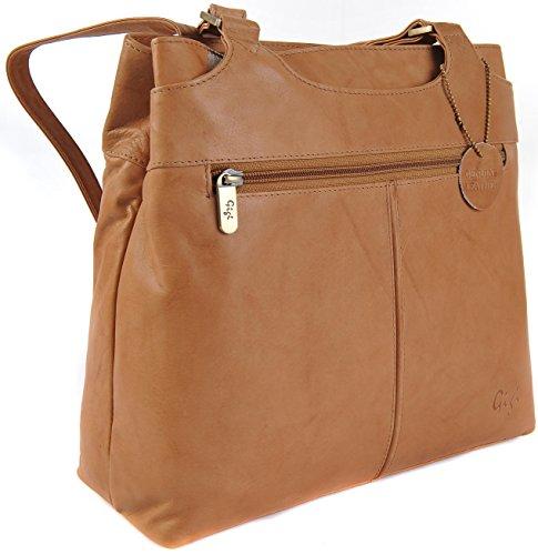 Gigi Othello Real Leather Shoulder 2 Section Handbag Various Plain Colours 544 (Black) Honey
