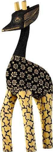 Hand-crafted Wood Figurine with Batik Motives, Giraffe