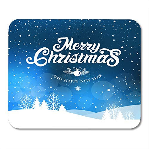 Nakamela Mouse Pads Calligraphy Blue Snow Merry Christmas and Happy New Year Design Hand Lettering White Winter Xmas Mouse mats 9.5