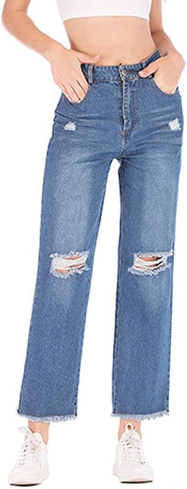 Vaqueros Rotos Mujer Vaqueros Rectos Pantalones Largos Ajustados Boyfriend Jeans Vaqueros Anchos Push Up Retro Elasticos Pantalones Otono Invierno Risthy Amazon Es Ropa Y Accesorios