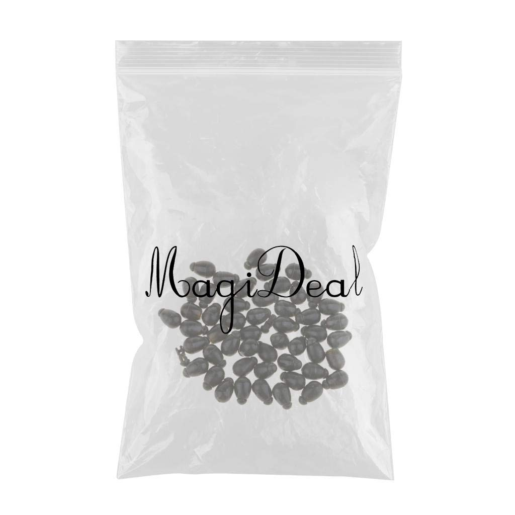 MagiDeal 50 Pack 9.5x6mm Fishing Connector Quick Change Beads for Hook Links Method Feeders