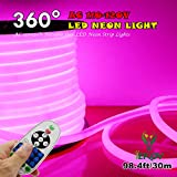 [Upgrade] 360° LED NEON Light, IEKOV™ AC 110-120V Flexible 360 Degree LED Neon Strip Lights, Dimmable & Waterproof NEON LED Rope Light + Remote Controller for Decoration (98.4ft/30m, Pink)