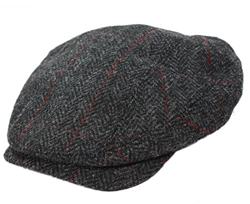 Mucros ST. Patrick's Day Irish Cap Wool Tweed Charcoal Herringbone Made In (Hat Charcoal)