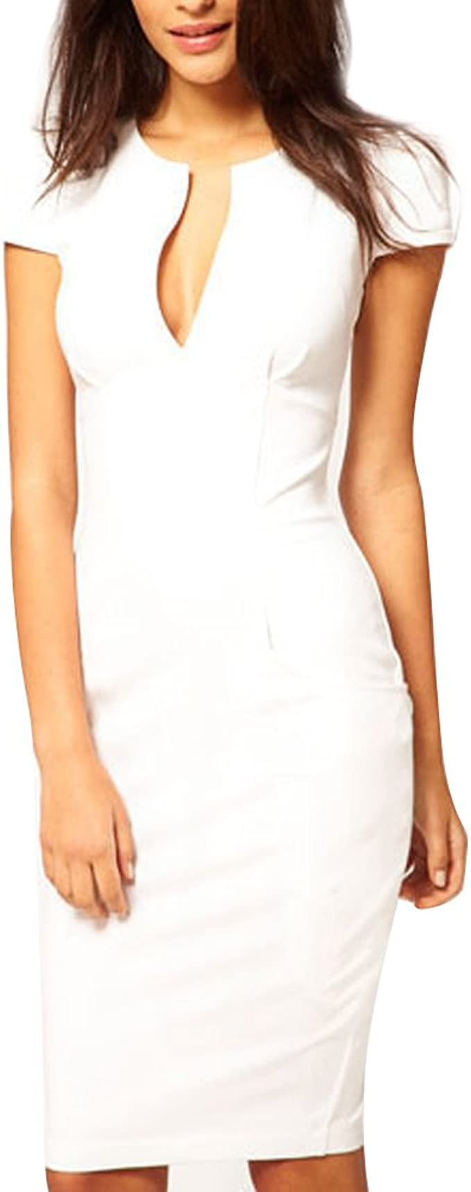 Damen Kleid Knielang Elegante Kleider sexy V-Ausschnitt