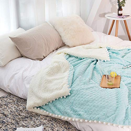 Frontgate Blue Blanket - Vesna Pom Poms Faux Fur Throw Blanket Fluffy Sherpa Blanket Bed Couch Chair Throw Adult Kids Soft Warm Blue Blanket Throw for Family Friend 59