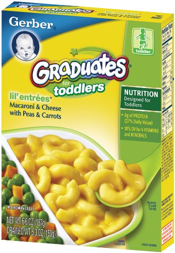 Gerber Graduates Lil' Entrees, Macaroni & Cheese with Peas & Carrots, 6.6-Ounce Boxes (Pack of 12) - Entree Macaroni