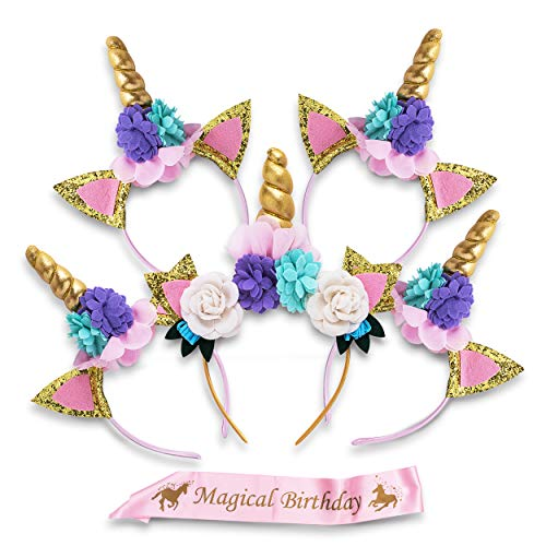 Unicorn Headband Party Supplies, 5 Horn Set and