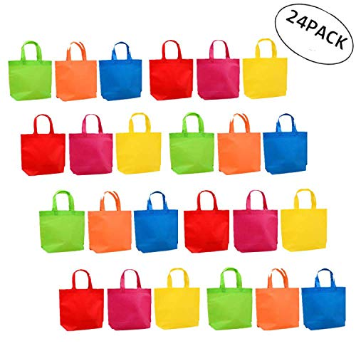 Large Non Woven Tote - AROGEAR Party Favors Bags Multifunctional Reusable Non-Woven Tote Gift Bags with Handles for Kids Birthday Favors,Shopping Bag,Rainbow Party, 24 Pieces 6 Rainbow Colors 13 x 10.2 inches