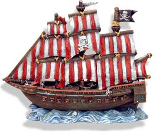 (Exotic Environments Pirate Clipper Ship Aquarium Ornament, 10-Inch by 4-1/2-Inch by 10-Inch )