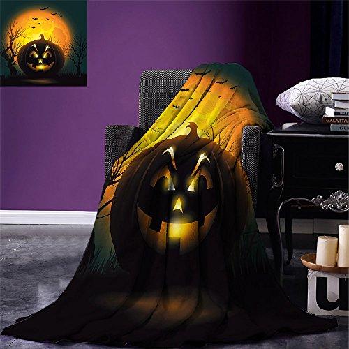 smallbeefly Halloween Digital Printing Blanket Fierce Character Evil Face Ominous Aggressive Pumpkin Full Moon Bats Summer Quilt Comforter Orange Dark Brown Black ()
