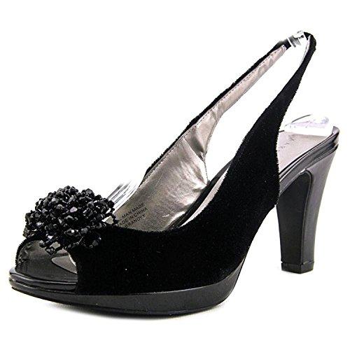 Karen Scott Brandyy Open Toe Slingback Heel, Black/Velvet, Size (Black Velvet Slingbacks)