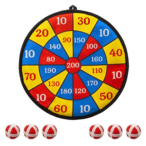 MrSunshine Fabric Dart Board for Kids - 6 Balls with Hook-and-Loop Fasteners Kids Dart Board - Classic Dart Board with Balls - Kids Safe Dart Board - Bullseye Game (11 - Red)