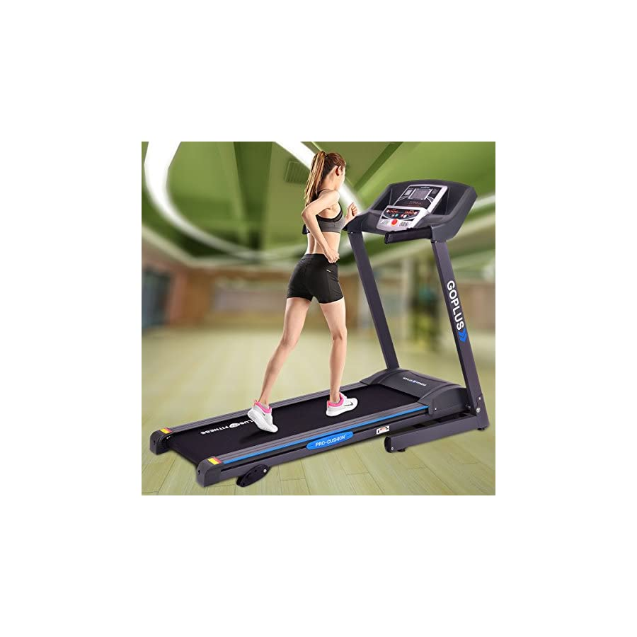Goplus 2.25HP Folding Treadmill Electric Support Motorized Power Running Fitness Jogging Incline Machine g Fitness Jogging Incline Machine Fitness Jogging Incline Machine Black Jaguar Ⅱ(Classic)