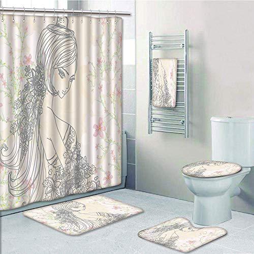 Bathroom 5 Piece Set shower curtain 3d print Customized,Girls Room Decor,Drawing of Fashion Girl in Fairyland Spring Field Daisies,Peach Light Pink Dark Taupe,Bath Mat,Bathroom Carpet Rug,Non-Slip,Bat