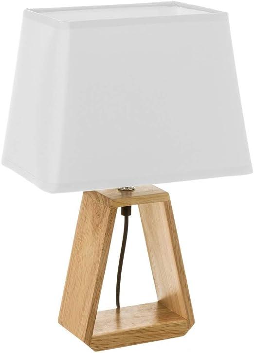 Lámpara de mesita de noche de madera marrón nórdica para dormitorio Vitta - LOLAhome: Amazon.es: Iluminación