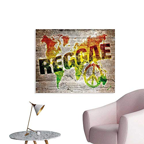 J Chief Sky Rasta Art Decor Decals Stickers World Map on Plaques with Reggae Lettering and Peace Symbol Poster Wall Prints for girs W28 xL20