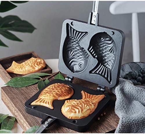 PPDDE Pan, Barbecue Pancake Moule Double Poisson Biscuit Gâteau de Cuisson Outil, Moule Maker Pan Bar de Cuisson for la Maison Cuisine