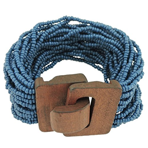 (Coiris Wooden Buckle Clasp Multi Layers Beads Wide Bracelet for Women With Elastic (BR1167-deep teal))