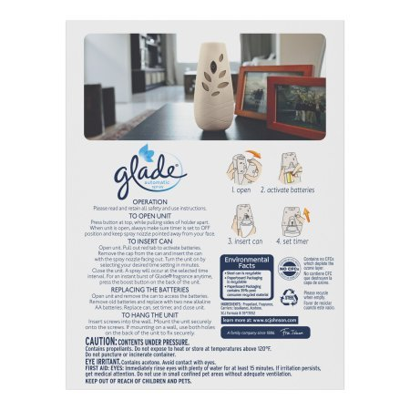 Glade Automatic Spray Air Freshener Starter Kit, Cashmere Woods, 6.2 oz. ((2 AA Batteries Included))