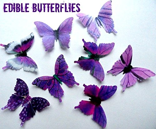 PURPLE Small Assorted Set of 24 Edible Butterflies 1.75 for decorating Macaron Cookies, Wedding Cake and Cupcake Toppers, Edible Wafer Paper Decorations