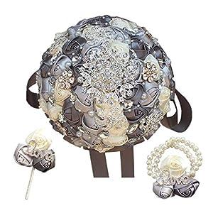 Memoirs- Silver Gray Ivory Rhinestone Bouquet Diamond Brooch Holding Flowers Wedding Bridal Bouquet Set,21Cm Which Color Set 43