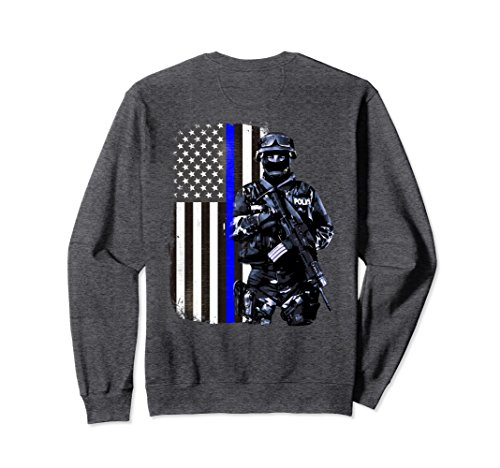 In The Line Of Duty Costumes (Unisex Thin Blue Line Police SWAT American Flag Patriot Sweatshirt XL: Dark Heather)