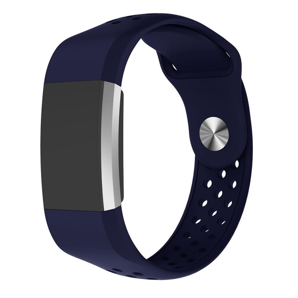 BZLine® Klein Sport Silikon Armband Armband für Fitbit Charge 2 Unisex Armband zur Herzfrequenz und Fitnessaufzeichnung (Blau)