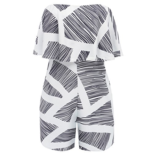 Tkria Women Sexy Off Shoulder Floral Printed Playsuit One Piece Summer Strapless Romper Beach Short Jumpsuit