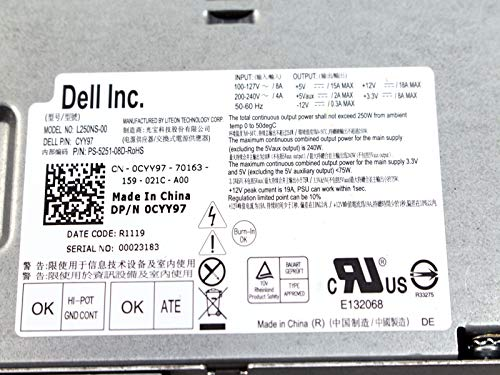 Amazon.com: Genuine Dell 250W Watt CYY97 7GC81 L250NS-00 Power Supply Unit PSU For Inspiron 530s 620s Vostro 200s 220s, Optiplex 390, 790, 990 Desktop DT ...