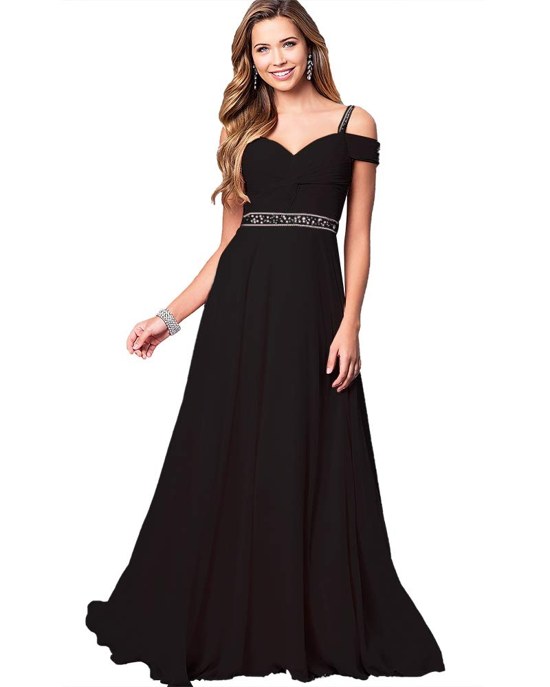 Aofur New Lace Long Chiffon Formal Evening Bridesmaid Dresses Maxi Party  Ball Prom Gown Dress Plus Size (X-Large, Black)