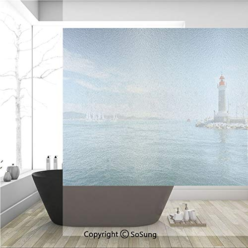 (3D Decorative Privacy Window Films,Day by the Seaside Sailboats Lighthouse Rocks Clear Sea Clouds Island Seascape Decorative,No-Glue Self Static Cling Glass film for Home Bedroom Bathroom Kitchen Offi)