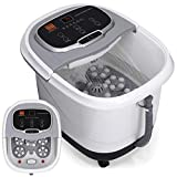 Best Choice Products Portable Relaxation Heated Foot Bath Spa w/Shiatsu Auto Massage Rollers, Taiji Massage, Acupuncture Points, Temp Control, Timer, LED Screen, Drain Filter, Shower Function -Silver