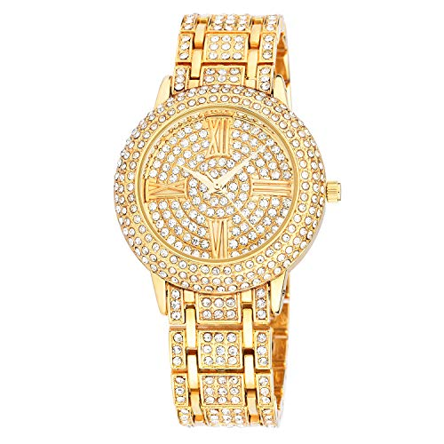 (Zeiger New Women Luxury Ladies Analog Quartz Round Watch Bling Jewelry Plated Classic Watch Crystal Charm Bracelet(Gold))