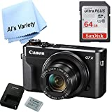 Canon G7X Mark II Digital Camera - Wi-Fi & NFC Enabled (Black) with Free SanDisk Ultra 64GB SDHC Class 10 SD Card