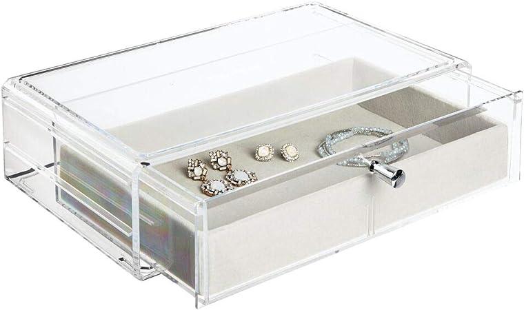 mDesign Cajas de plástico apilables para Collares, Pulseras, Anillos, Relojes y más – Estuches para joyería con Protector extraíble de Fieltro – Organizador de Joyas de plástico – Transparente y Gris: Amazon.es: Hogar