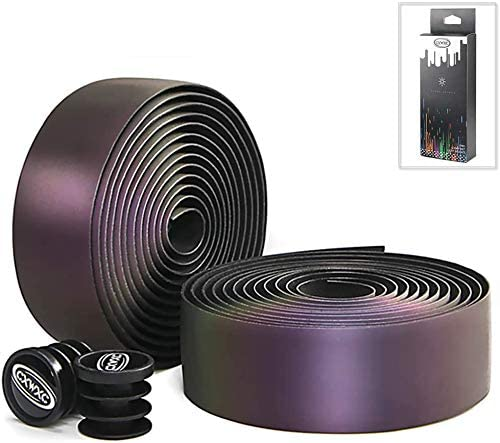 HULKWHEELS Road Bike Handlebar Tapes EVA Non-Slip Color Reflective Cycling Handle Grip Wraps Belts with Bar Plugs Bicycle Bar Tape 2 Rolls