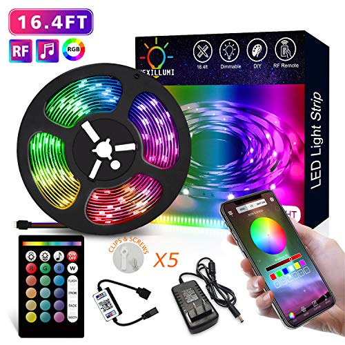 Nexillumi LED Strip Lights, Color Changing RGB LED Strip with RF Remote APP Control LED Lights SMD 5050 RGB LED Light Strip, Built-in Mic Sync with Music for Rooms, Party, Interior Decoration 16.4ft (Rgb Led Light Strip)